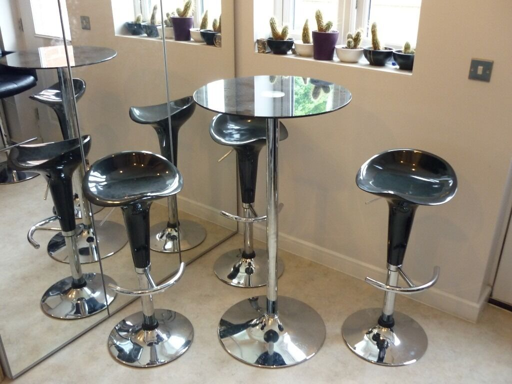 Ikea High Bar Table And 3 Stools Black Chrome