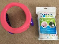 2 in 1 Pink Potette Plus with disposable portable potty liners