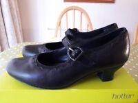 HOTTER Bridgette Ladies Black Leather Mary Jane 1920's Style Shoes Size UK 6 STANDARD Fitting BNIB