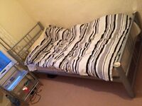 Single metal Bed with Bedside table