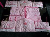 Girl baby cot/cotbed bedding bumper & quilt set ml5