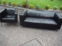 BLACK LEATHER SOFA AND ARMCHAIR