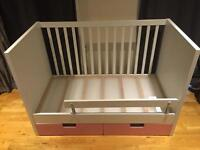IKEA Stuva cot bed with 2 drawers, white/pink (also available with white drawers) - rrp £160
