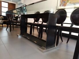 Elegant LARGE glass table fitting 10 ppl comfortably