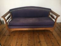 Antique Sleigh Settee Sofa Restoration Upholstery Project