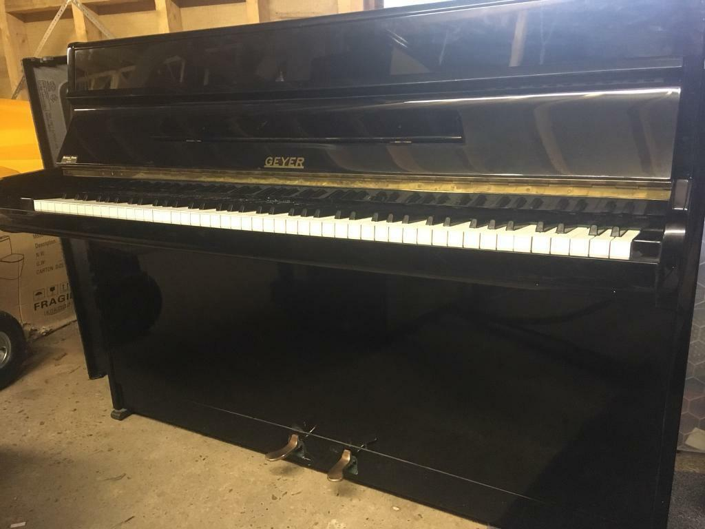 Small modern upright piano - Geyer - black gloss- free delivery* - tuned |  in Blofield, Norfolk | Gumtree