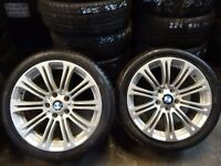 """SET OF 18"""" BMW ALLOYS JUST BEEN REFURBD 4x GOOD 245 40 18 TYRES £300ono (loads more av} TXT S"""