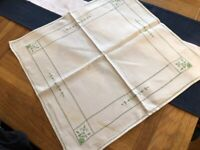 Vintage Linen Embroidered Table Square