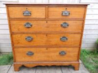 Solid Oak Victorian Chest of Drawers