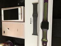 Apple iPhone 8 Plus 64gb unlocked & Apple Watch 3