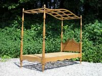 Four-Poster Single Bed Handmade in Pine with Waxed Finish
