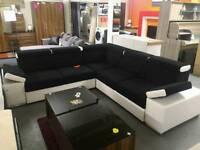 New Black n White Corner Sofa bed with Storage