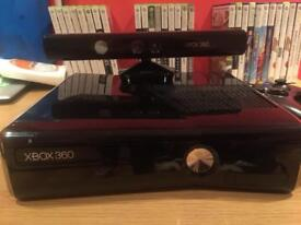 Xbox 360 with Kinect, 2 controllers and headset. Selection of games