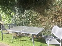 Metal extending table, benches and 2 chairs