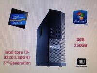 Dell Optiplex 7010 Intel Core i3 3rd Generation 8Gb ram, 250Gb hdd 3.3ghz dvd/rw win 7 lcd available