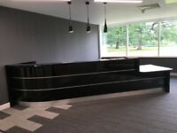 Black Reception Desk & Chair - Perfect for Retail, Salon, Office, Leisure, Commercial, Home Study