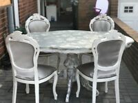 Dining table shabby chic style 4 chairs