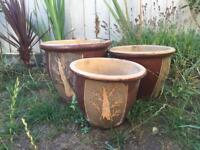 Ceramic pots set of 3 garden terrace balcony