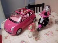 Barbie scooter car and horse