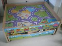 Wooden train table with wooden tracks and accessories