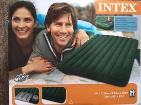 INTEX; queen size downy airbed with built in foot pump