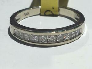 #159 14K WHITE GOLD LADIES PRINCESS CUT CHANNEL SET DIAMOND WEDDING BAND *SIZE 6 1/2* JUST BACK FROM APPRAISAL AT $2550