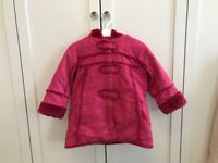 Lovely girl's winter coat, faux fur trim, padded , age 3-4, perfect condition