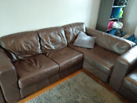 Brown Leather Sofa, 2 arm chairs and a corner seater.