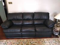 Black Leather Sofa DFS Valiant - 3 Seater-Very Good Condition
