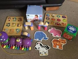 Leapfrog alphabet pal (caterpillar), wooden building blocks and other toys