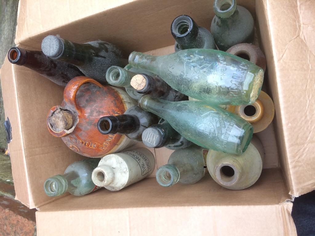 Old ale glass bottles over 40 in total