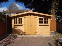 12x10FT SUMMERHOUSE GARDEN SHED TIMBER HEAVY DUTY DOUBLE DOOR FULLY ASSEMBLED ERECTED