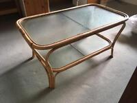 Cane coffee table for garden room or conservatory
