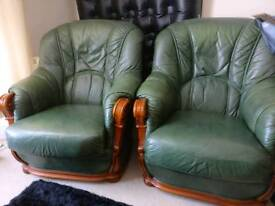 Green Leather Armchair x2