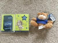 Father's Day Gift Set - Keyring Teddy and Wallet Card