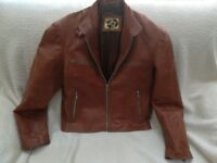 Men's Leather Bomber Jacket - 2XL