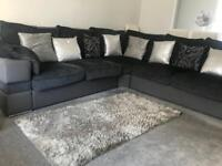 Grey Corner Sofa and Footstool