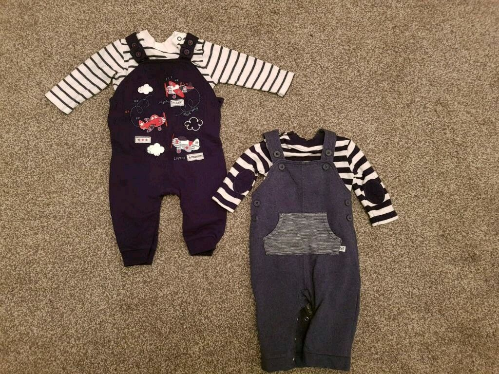 2x baby boy dungaree outfits age 3-6