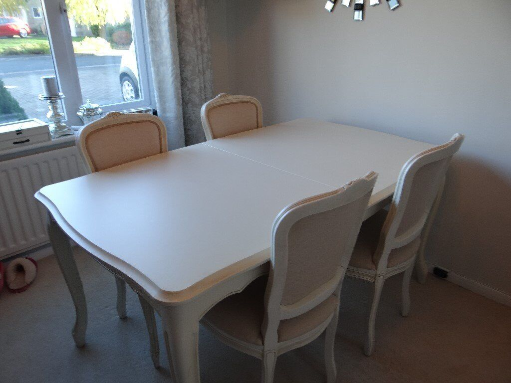 Laura Ashley Provencale Ivory Extending Dining Table with 6 Chairs ...