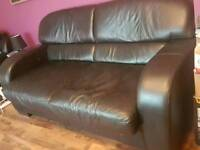 ITALIAN BLACK LEATHER 3 SEATER SOFA BED