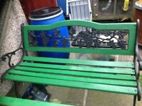 Cast iron garden bench chairs and table set