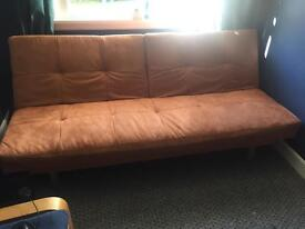 Tan suede sofa bed