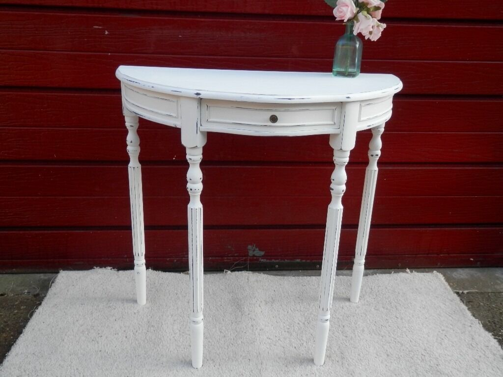 Hand Painted Shabby Chic Half Moon Console Table In Hull