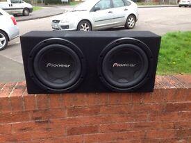 "Pioneer 12"" 3000w twin subs with MDF bass box N Kenwood 800w mono amp £160"