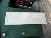 WHITE FIRE DOORS 78 inches; HEIGHT, 27 inches; WIDE,