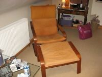 Ikea Poang Armchair with a rare tan suede cover, complete with a matching Footstool