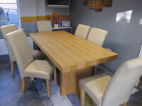 Dining table and 6 chairs plus matching items. Solid oak, top quality, perfect condition.