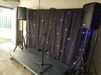 Stage, backdrop and sound system
