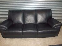 Quality Italian Black Leather 3+2-seater Suite