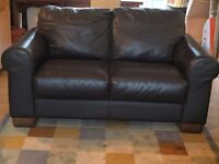 Dark brown real leather 3 piece suite (3 + 2 + 1) - good condition, bargain price